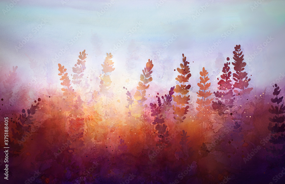 watercolor drawing of plants against the backdrop of a sunny sunset