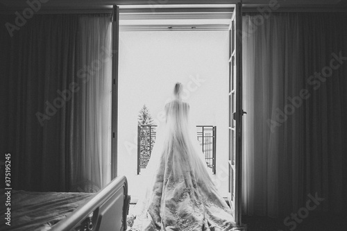 Fotografie, Obraz Beautiful luxury bride in elegant white dress