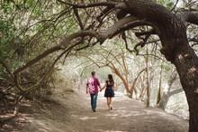 Engaged Couple Walking And Hol...
