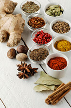 Food: Spices In Bowls On A Whi...
