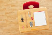 Supplies: School Desk With Supplies