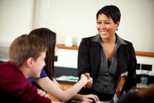 High School: Principal Visits Class