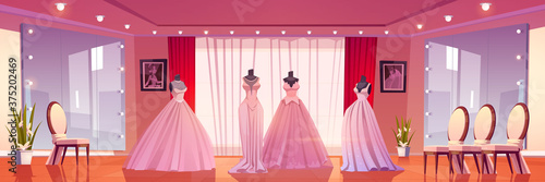 Bridal shop interior with wedding dresses on mannequins and large mirrors with lighting Fototapet