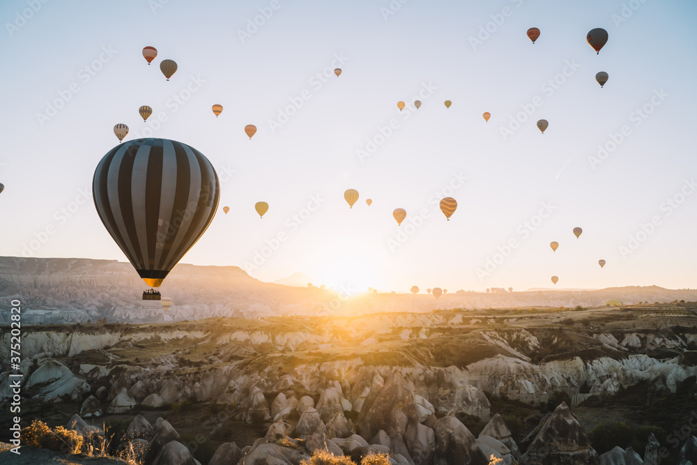 Fototapeta Air balloons racing over rocky terrain at dawn