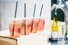 Stock Photo Of Freshly Made Rose Wine Spritzers With Drinking Straws