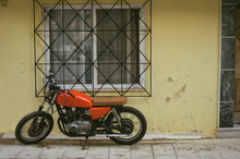Red Motorcycle On The Street