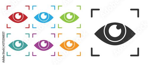 Fotografie, Obraz Black Eye scan icon isolated on white background