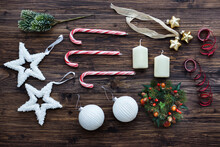 Christmas Decorations Equipment On Wooden Table