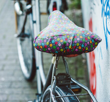 Saddle Covered With A Floral Blanket