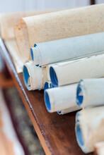 Antique Scrolls Lined Up On A ...