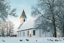 White Church In Sweden Winter