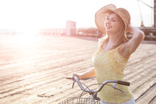 Beautiful Woman With Bicycle