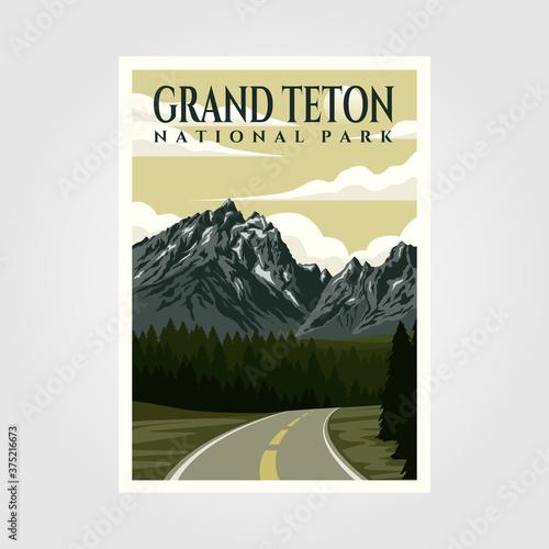 Fotografia grand teton national park vintage poster illustration design, travel poster desi