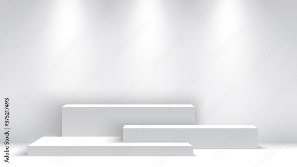 Fototapeta White blank podium with spotlights. Exhibition stand. Pedestal. Scene. Vector illustration.