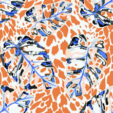 Tropical Seamless Pattern On Animalistic Texture. Jungle Exotic Summer Print. Summer Tropical Leaf. Tropical Flower Fashion Pattern. Floral Tropic Illustration. Vector Seamless Pattern.