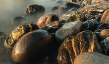 Long Exposure Pic Of Rocks On A Beach