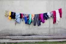 Colourful Wet Laundry Hanging ...