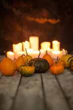Pumpkins Bats And Lit Candles