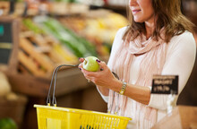 Market: Woman Holding Basket S...