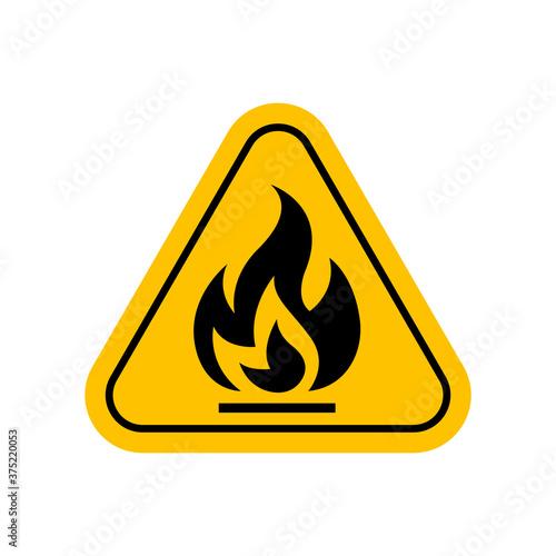 flammable materials warning sign, caution fire sign yellow, gas hazard symbol, a Fototapet