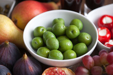 Fresh Green Olives And Fruit