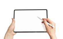 Digital Tablet With Pen In Woman Hands On White Isolated Background.