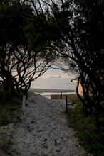 Sandy Path To Beach At Sunset