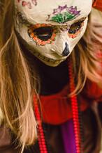 Girl In Mexican Sugar Skull Ma...