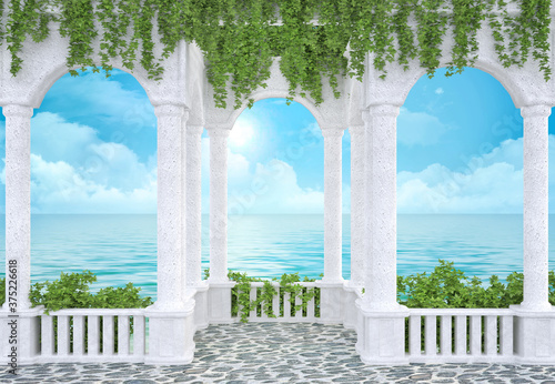Fotografie, Obraz Arched colonnade with a balustrade entwined with ivy sea view 3d rendering
