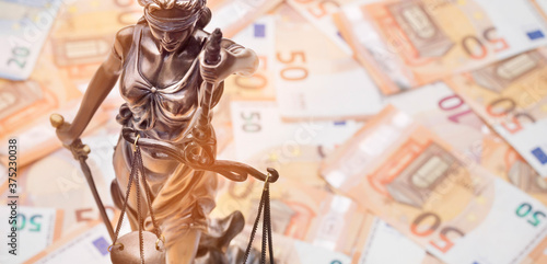 Lady Justice is on several 50 and 20 Euro bills Canvas Print