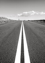 """Desert Road To Nowhere, In Patagonia, South America, """"Ruta 40"""", Argentina, Black And White."""