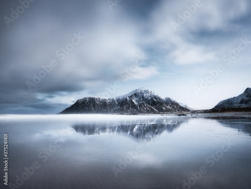 Skagsanden beach, Lofoten islands, Norway Billede på lærred