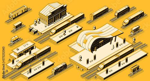 Train station with locomotive isometric vector set Fototapeta