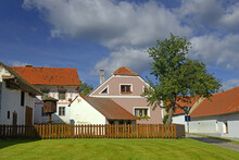 Holasovice, Czech Republic - Houses In The Historical Village Reservation Is Complete And Well-preserved Example Of A Traditional Village-South Bohemian Folk Baroque, WH Site By UNESCO