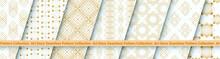 Art Deco Patterns Set. Golden Seamless Pattern On White Backgrounds. Geometric Decorative Vector Line Design. 1920-30s Motifs. Luxury Vintage Illustration
