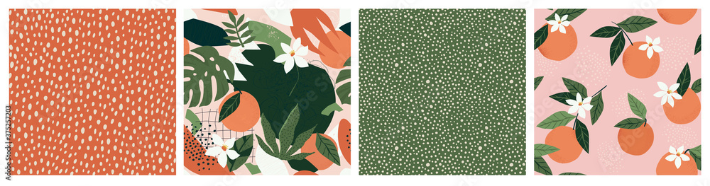 Fototapeta Collage contemporary orange floral and polka dot shapes seamless pattern set.