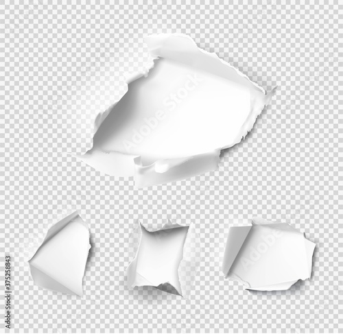 Set of realistic holes in paper on transparent background Tableau sur Toile