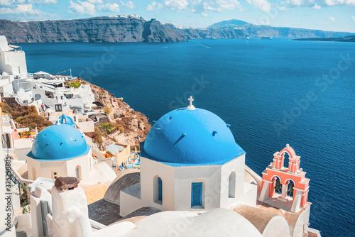 Fototapeta Santorini island, Greece, famous Europe travel tourist vacation destination. Oia white village. obraz