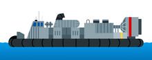 War Ship Hovercraft Vector Iso...