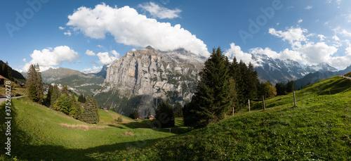 A panoramic View near Murren, Lauterbrunnen, Switzerland #375260278