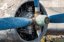 An Old Propeller On Wing, Close Up. Propeller Of Ilyushin IL 14, Russian Historical Aircraft.