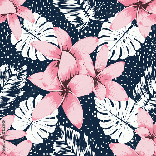 Tapeta różowa  seamless-pattern-pink-frangipani-flowers-and-monstera-leaf-abstracte-background-hand-drawing-line-art-vector-illustration