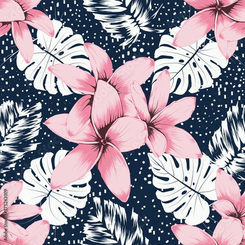 Tapeta różowa  seamless-pattern-pink-frangipani-flowers-and-monstera-leaf-abstracte-background-hand-drawing