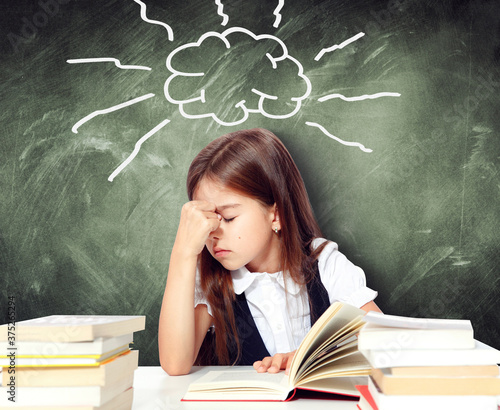 Frustrated and unhappy teen girl at school. Canvas Print