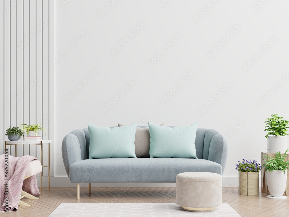 Fototapeta Bright and cozy modern living room interior have sofa and lamp with white wall background.