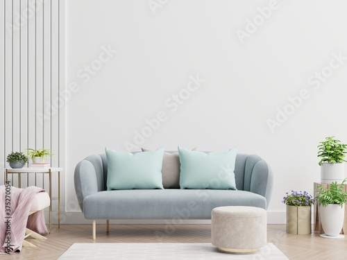 Bright and cozy modern living room interior have sofa and lamp with white wall background Billede på lærred