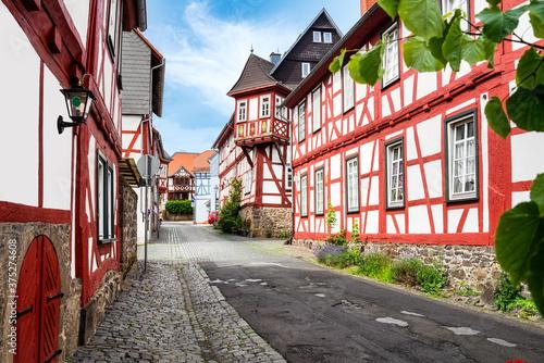 Fotografia Cityscape of the idyllic old town Lich in der Wetterau, Germany