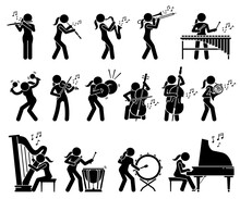 Female Musician Playing Music With Musical Instruments And Percussion Stick Figures Icons. Vector Illustrations Of Woman Playing Trumpet, Oboe, Saxophone, Xylophone, Violin, Cello, Harp, And Piano.