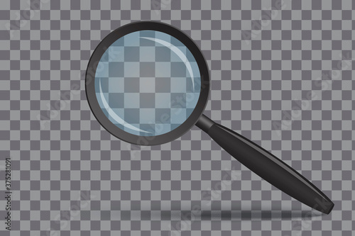 Fototapeta Magnifying glass. Magnifier with 3D zoom. Search lens. A realistic tool to review. Vector illustration. Stock photo. obraz