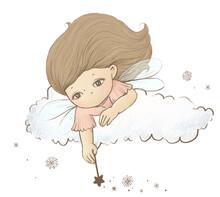 Cute Little Fairy And Snow